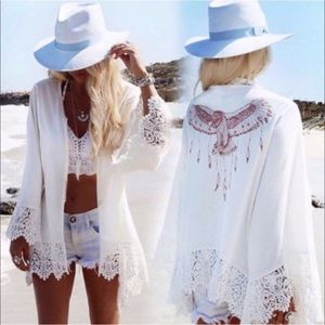 Tops - ✨JUST IN✨SALE!✨NEW CHIC LACE TRIM BOHO COVERUP TOP